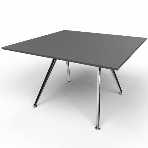 Arkitek Executive Square Table In Black With Polished Legs