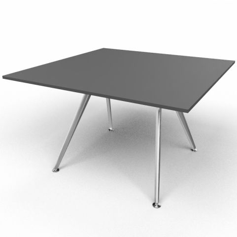 Arkitek Executive Square Table In Black With Silver Legs