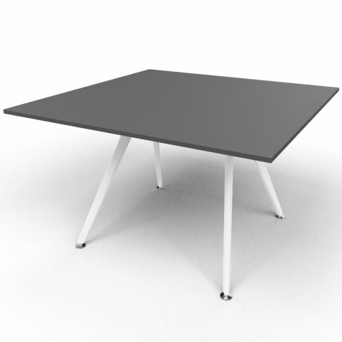 Arkitek Executive Square Table In Black With White Legs