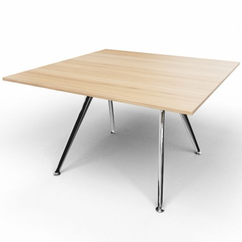 Arkitek Executive Square Table In Chestnut With Polished Legs