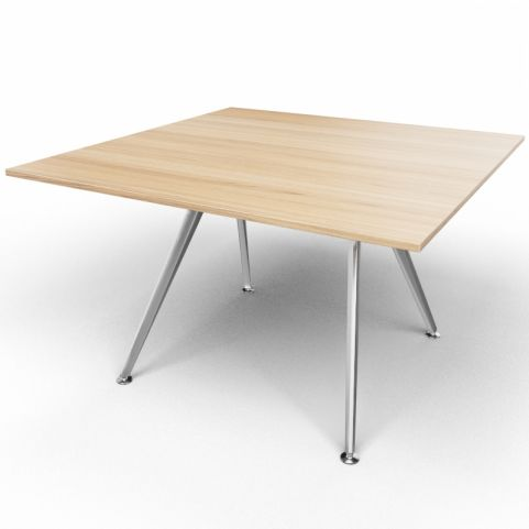 Arkitek Executive Square Table In Chestnut With Silver Legs