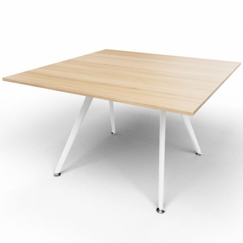 Arkitek Executive Square Table In Chestnut With White Legs