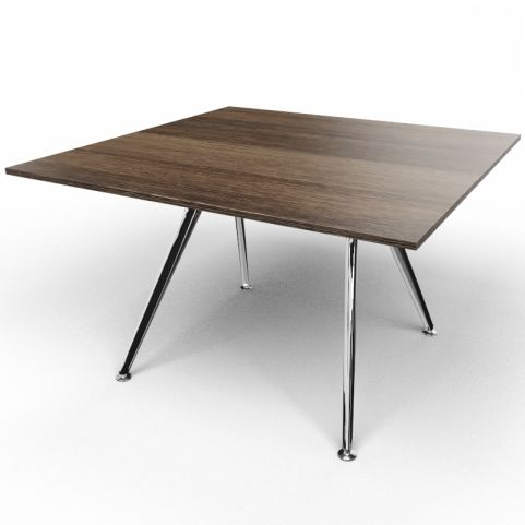Arkitek Executive Square Table In Dark Oak With Polished Legs