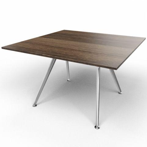 Arkitek Executive Square Table In Dark Oak With Silver Legs