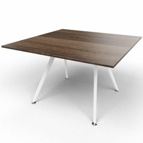 Arkitek Executive Square Table In Dark Oak With White Legs