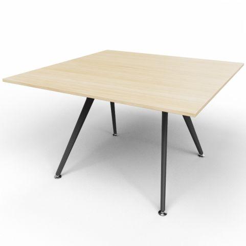 Arkitek Executive Square Table In Light Oak With Black Legs