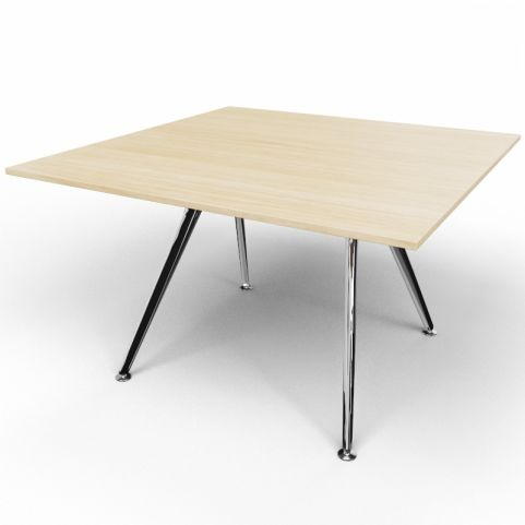 Arkitek Executive Square Table In Light Oak With Polished Legs