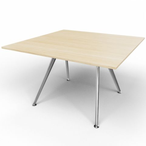 Arkitek Executive Square Table In Light Oak With Silver Legs