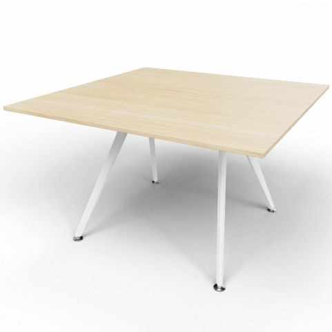 Arkitek Executive Square Table In Light Oak With White Legs