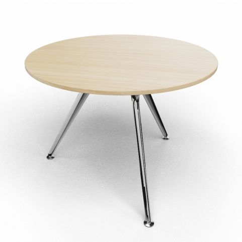 Arkitek Circular Executive Table In Light Oak With Polished Legs