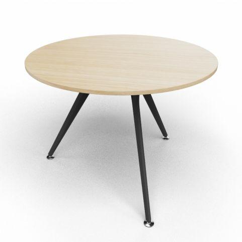 Arkitek Circular Executive Table In Light Oak With Black Legs