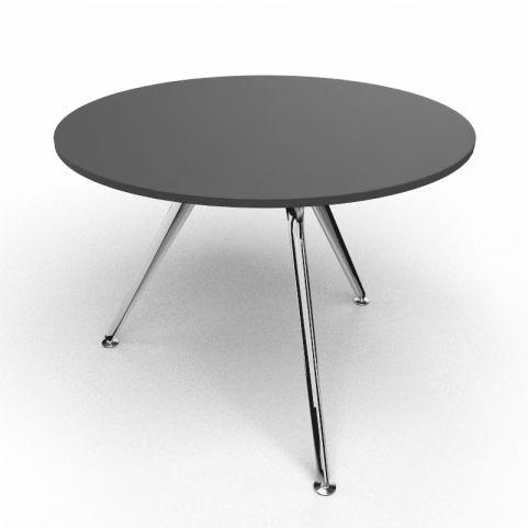 Arkitek Circular Executive Table In Black With Polished Legs