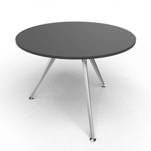 Arkitek Circular Executive Table In Black With Silver Legs