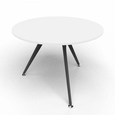 Arkitek Circular Executive Table In White With Black Legs