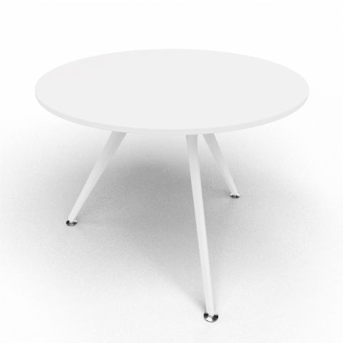 Arkitek Circular Executive Table In White With White Legs