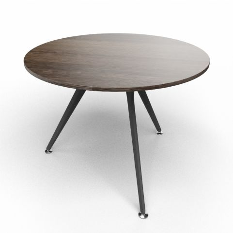 Arkitek Circular Executive Table In Dark Oak With Black Legs