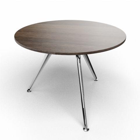 Arkitek Circular Executive Table In Dark Oak With Polished Legs