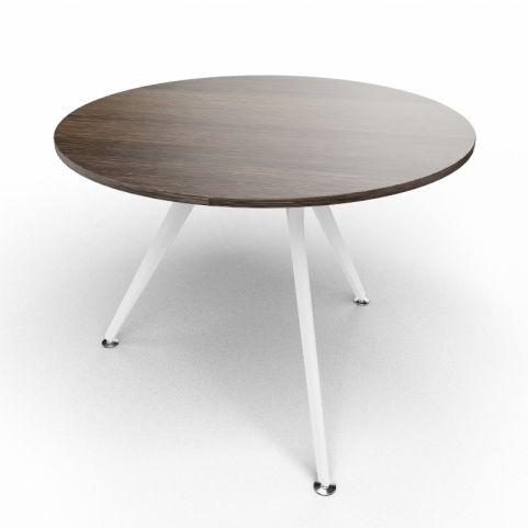Arkitek Circular Executive Table In Dark Oak With White Legs