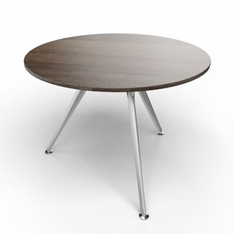 Arkitek Circular Executive Table In Dark Oak With Silver Legs