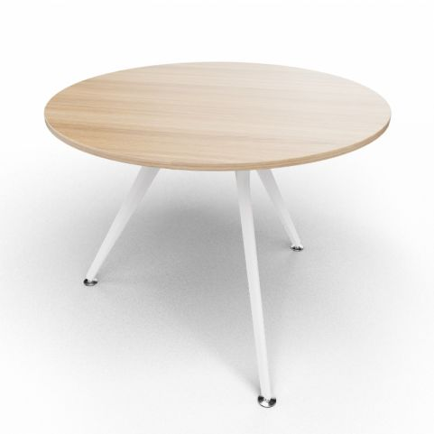 Arkitek Circular Executive Table In Chestnut With White Legs