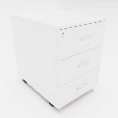 Arkitek 3 Drawer Mobile Pedestal In White