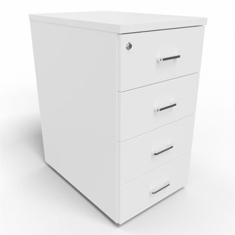 Arkitek 4 Drawer Desk Height Pedestal In White