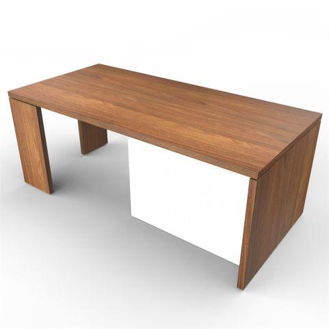Lithos Presidential Desk In Natural Walnut + White
