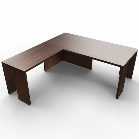 Lithos Presidential Desk With Return In Dark Oak - Shot 2