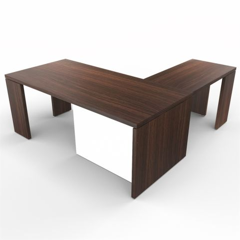 Lithos Presidential Desk With Return In Dark Oak + White