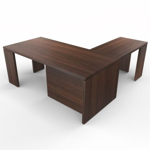 Lithos Presidential Desk With Return In Dark Oak