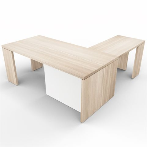 Lithos Presidential Desk With Return In Oak + White