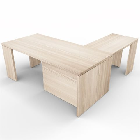 Lithos Presidential Desk With Return In Oak