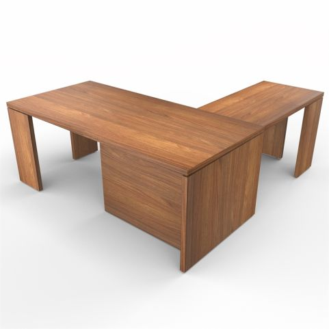 Lithos Presidential Desk With Return In Walnut