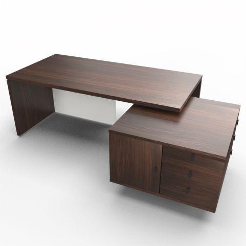 Lithos Exec Desk With Service Unit In Dark Oak + White