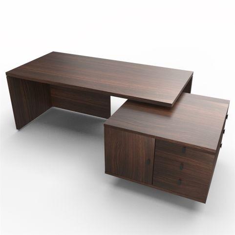 Lithos Exec Desk With Service Unit In Dark Oak