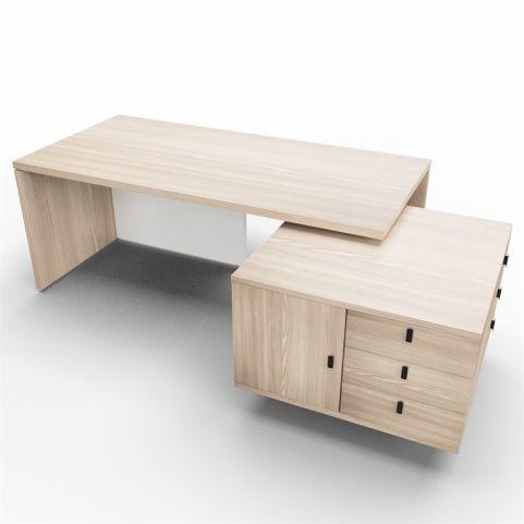 Lithos Exec Desk With Service Unit In Oak + White
