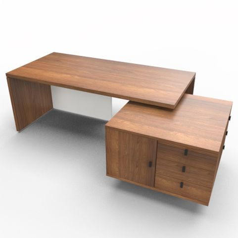 Lithos Exec Desk With Service Unit In Walnut + White