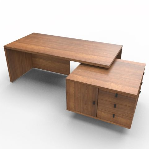 Lithos Exec Desk With Service Unit In Walnut