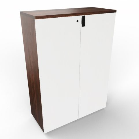 Lithos Executive Cupboard In Dark Oak + White
