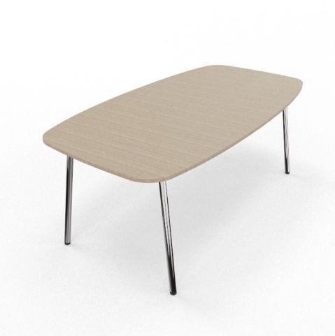 Four Real Flake Ellipse Table Oak Chroem Frame