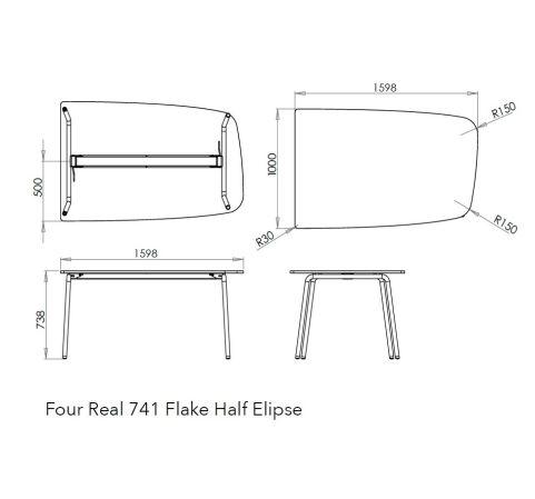 Flake Half Elipse Dimensions