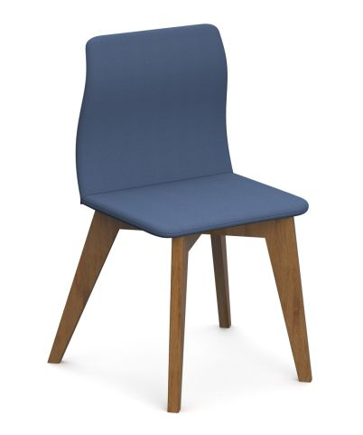 Cave Chair Solid Oak Wood Legs Blue Fabric