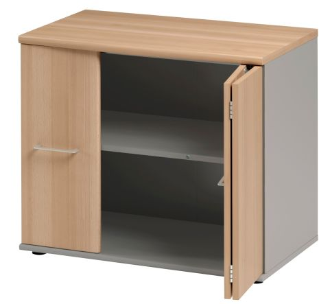 Jazz Low Cupboard With Folding Doors Beech Folded View