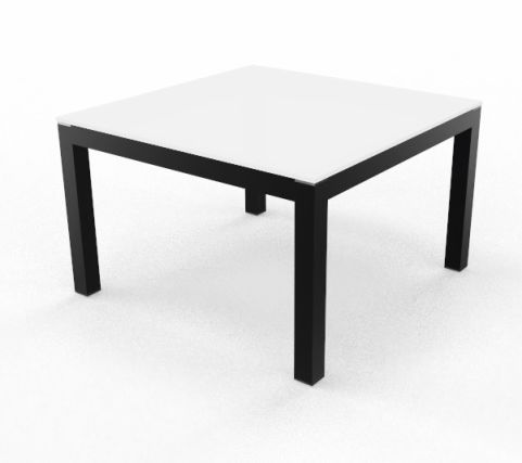 Impuls Coffee Table White Glass Top Black Frame Legs