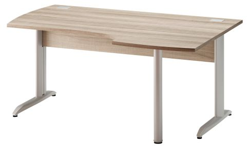 Jazz Corner Desk With Metal Legs Right Hand Grey Oak