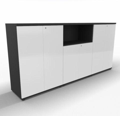 Impuls Cupboard White Doors Black Carcass