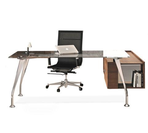 Segno Executive Desk With Glass Returbn