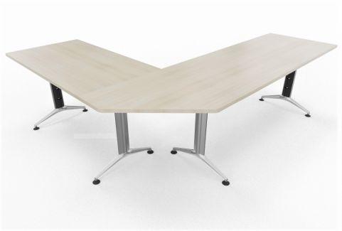 Travido 10 1600mm Desk With Corner Link And Return 1200mm Liem Oak Finish Silver Leg