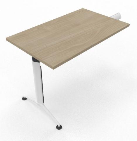 Extension Unit White Silver Leg Light Oak Top