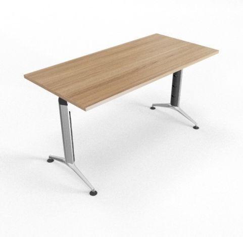 Travido 10 Table Chestnut Top White Leg 670mm Deep